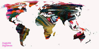 World Map And Human Life Print by Augusta Stylianou
