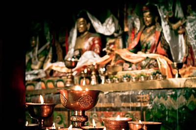 Zuthrul Phug Monastery Milarepas Cave Print by Raimond Klavins