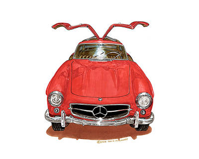 Net Painting - 300 S L Gull Wing Mercedes Benz by Jack Pumphrey