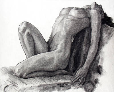 Black And White Erotic Art Drawing - Infinite Surrender by Robert Poole