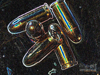 Bullet Art 32 Caliber Cartridge 1 Neon Art Print by Lesa Fine