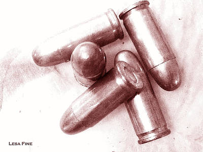 Cartridge Digital Art - Bullet Art - 32 Caliber Bullets_1 by Lesa Fine