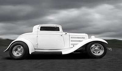 32 Ford Deuce Coupe In Black And White Print by Gill Billington