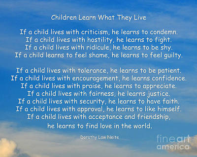 Wisdom Digital Art - 33- Children Learn What They Live by Joseph Keane