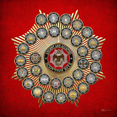 33 Scottish Rite Degrees On Red Leather Print by Serge Averbukh