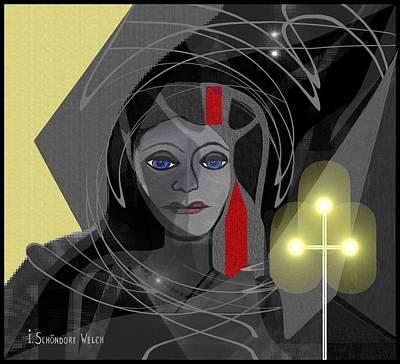 Digi-art Digital Art - 340 - Black Magic Woman by Irmgard Schoendorf Welch