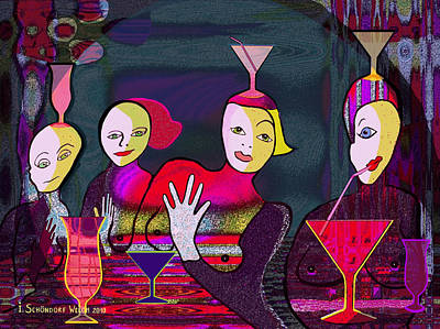 Glass Wall Digital Art - 349 - Crazy Cocktail Bar   by Irmgard Schoendorf Welch
