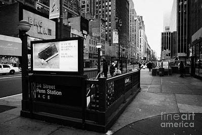 34th Street Entrance To Penn Station Subway New York City Usa Print by Joe Fox