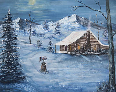 Great Smokey Mountains Painting - Winter's Night by Frances Lewis