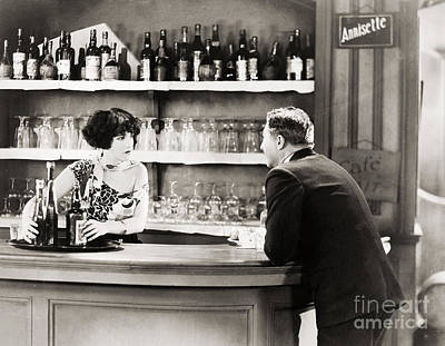 Wine Service Photograph - Silent Film Still: Drinking by Granger