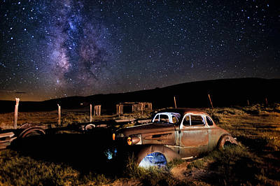 Ghost Town Photograph - '37 Chevy And Milky Way by Cat Connor