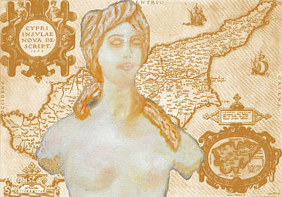 Old Map Digital Art - Ancient Cyprus Map And Aphrodite by Augusta Stylianou