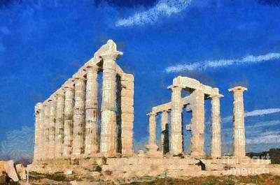 Ancient Painting - Poseidon Temple by George Atsametakis