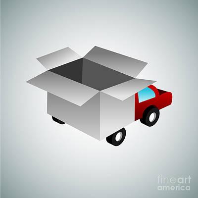 Toaster Digital Art - 3d Box Truck by John Takai
