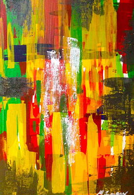 Bob Marley Abstract Painting - 3rdbird by Micaela Linton