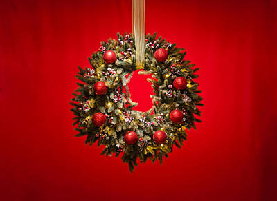 Advent Wreath Over Red Background Print by Ulrich Schade