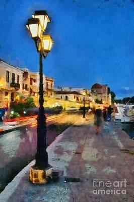 Light Painting - Aegina Port During Dusk Time by George Atsametakis