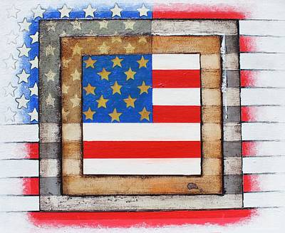 Stars And Bars Mixed Media - American Flag by Steve  Hester
