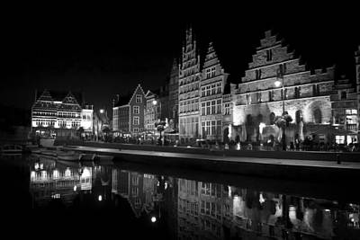 An Evening On The Waterfront In Ghent Print by Mountain Dreams