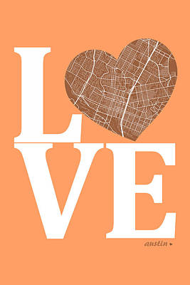 Austin Digital Art - Austin Street Map Love - Austin Texas Road Map In A Heart by Jurq Studio