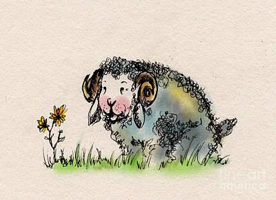 Sheep Drawing - Baa Baa by Angel  Tarantella