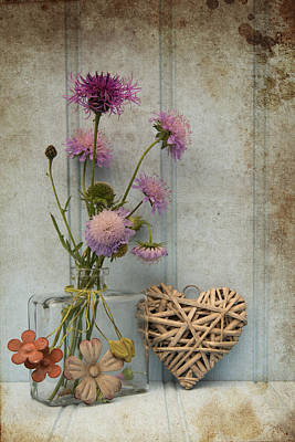 Beautiful Flower In Vase With Heart Still Life Love Concept Print by Matthew Gibson