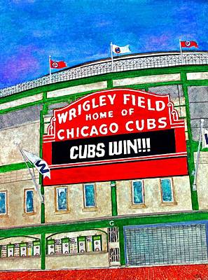 Wrigley Field Painting - Blue Skies Over Wrigley by Janet Immordino