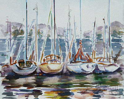 Watercolor Painting - 4 Boats by Xueling Zou