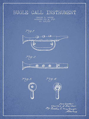 Trumpet Digital Art - Bugle Call Instrument Patent Drawing From 1939 - Light Blue by Aged Pixel