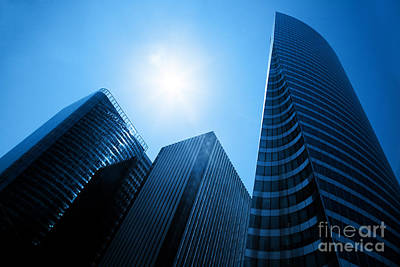 Business Skyscrapers Print by Michal Bednarek