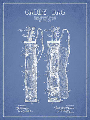 Caddy Digital Art - Caddy Bag Patent Drawing From 1905 by Aged Pixel