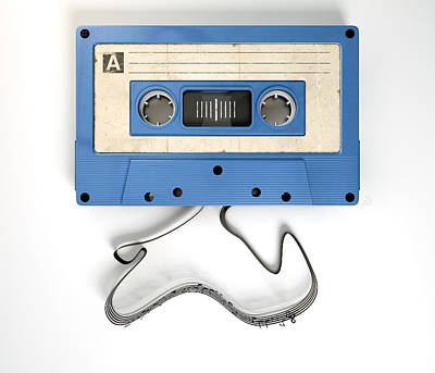 Cassette Tape And Musical Notes Concept Print by Allan Swart