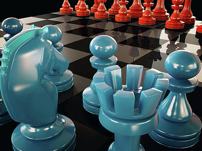 Pawn Photograph - Chess Board And Pieces by Ktsdesign