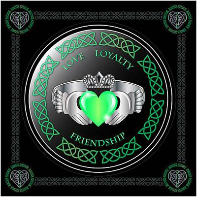 Celtic Digital Art - Claddagh Ring by Ireland Calling