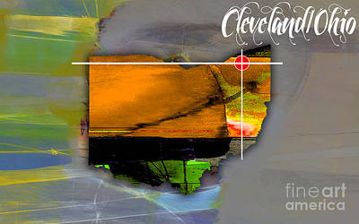 Ohio Mixed Media - Cleveland Ohio Map Watercolor by Marvin Blaine