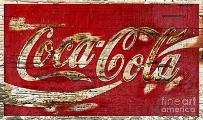Coca-cola Sign Photograph - Coca Cola Sign Cracked Paint by John Stephens