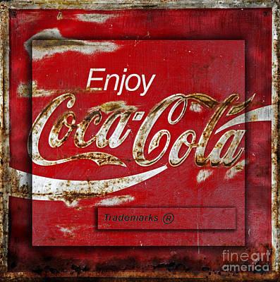 Coca Cola Vintage Rusty Sign Print by John Stephens
