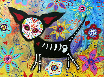Folk Painting - Day Of The Dead Chihuahua by Pristine Cartera Turkus