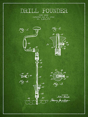 Woodworking Print featuring the drawing Drill Pounder Patent Drawing From 1922 by Aged Pixel
