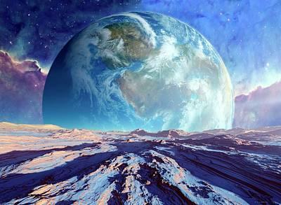 Cosmological Photograph - Earth-like Alien Planet by Detlev Van Ravenswaay