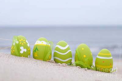 Religion Photograph - Easter Decorated Eggs On Sand by Michal Bednarek