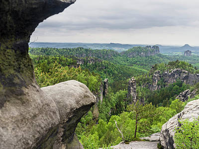 Elbe Sandstone Mountains Print by Martin Zwick