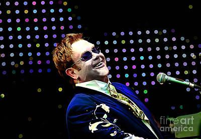Elton John Mixed Media - Elton John by Marvin Blaine