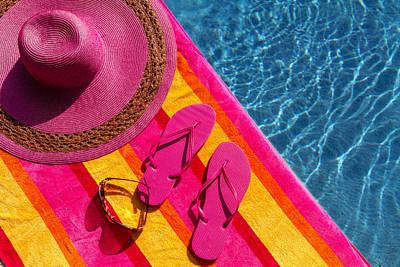 Flip Flops By The Pool Original by Teri Virbickis