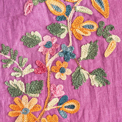 Embroidered Photograph - Floral Pattern by Tom Gowanlock