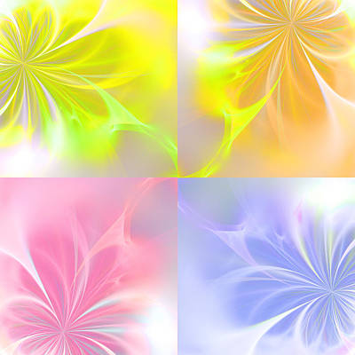 Abstract Digital Painting - 4 Flowers by Stefan Kuhn