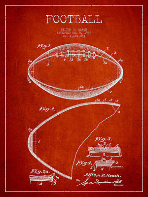 Technical Drawing - Football Patent Drawing From 1939 by Aged Pixel
