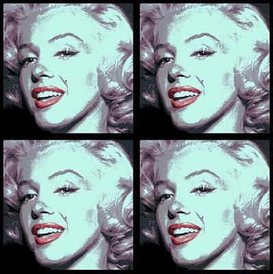 Beauty Mark Digital Art - 4 Frame Marilyn Pop Art by Daniel Hagerman