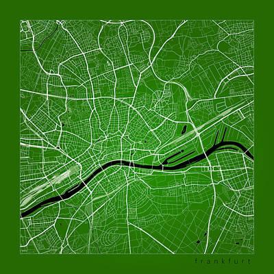 Frankfurt Street Map - Frankfurt Germany Road Map Art On Color Print by Jurq Studio