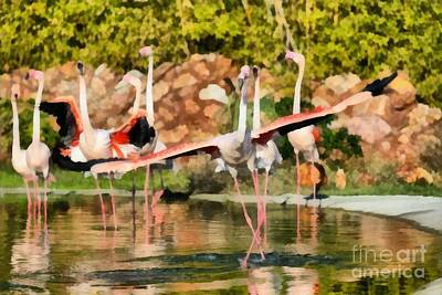 Greater Flamingo Painting - Greater Flamingos by George Atsametakis